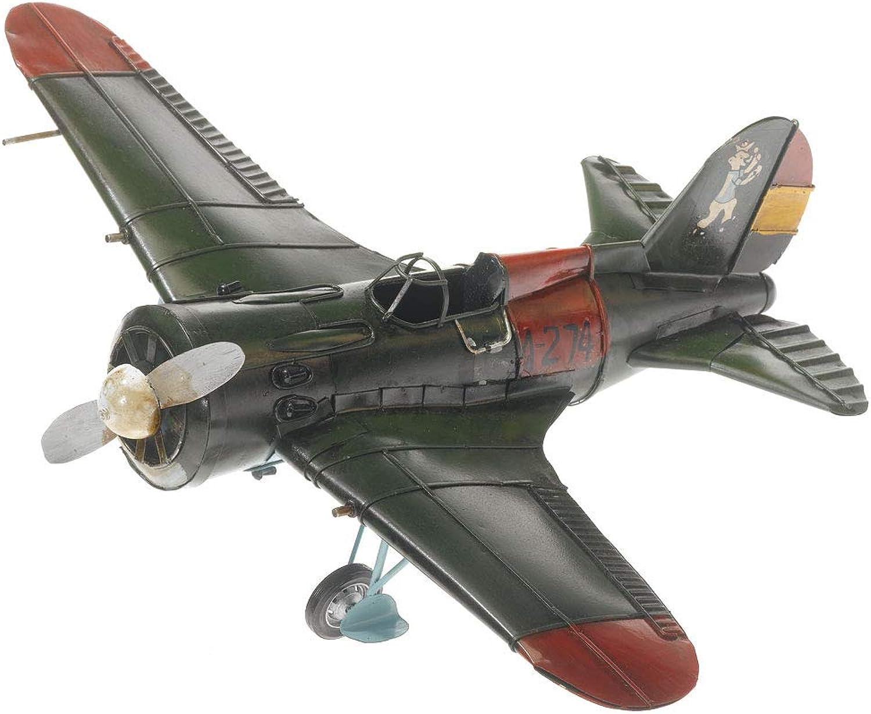 PamerToys Tin Model Airplane  in Antique Vintage Retro Style  diverse Size  (airplane big, greenred)