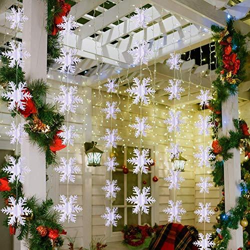 BESTZY Schneeflockendekoration 3 Stück Set Deko Schneeflocken Papier Deko Glitzer Schneeflocke Schneeflockendekoration zum Aufhängen Weihnachtsbaumschmuck Weihnachtsdeko