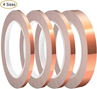 SUMAJU 4 Pack Copper Foil Tape with Conductive Adhesive 4 Sizes x 22Yards Copper Tape for EMI Shielding, Slug Repellent, Paper Circuits, Electrical Repairs, Grounding