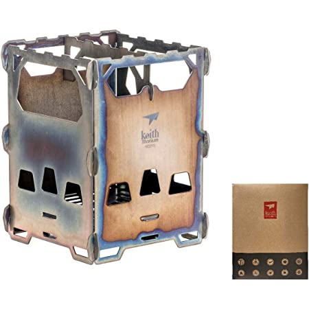 SWAG GEAR 最新モデル Keith焚き火台 柄付き 超軽量 チタニウムアルコールストーブ 五徳 折りたたみ式 チタン製ポケットストーブ ポットスタンド アウトドア キャンプ 旅行 携帯便利 Ti2201 【収納バッグ付き】