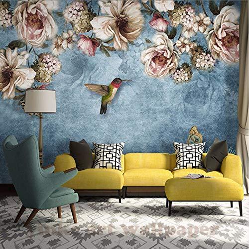 Cczxfcc Aangepaste 3D muurschildering behang Scandinavische Europese hand kleur canvas champagne roze bloem foto achtergrond wandafbeeldingen vliesbehang 250 cm x 175 cm.