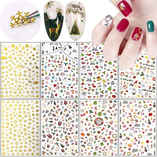 Christmas Nail Art Stickers Decals 3D Self-adhesive Foil Nail Stickers Xmas Nail Art Supplies Santa Claus Snowflake Snowman Christmas Bell Tree Elk Design DIY Manicure Decorations (8 Sheets)