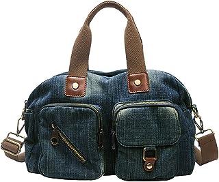 حقيبة يد من الدنيم للنساء من قماش الجينز حقائب كتف حقائب يد كبيرة بحمالة