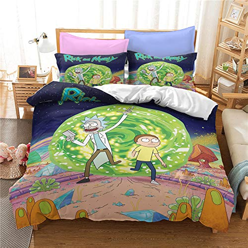 Enhome Duvet Cover Bedding Set for Single Double King Size Bed, 3D Scientist Animation Microfiber Duvet Set Quilt Case with Pillowcases (Rick and Morty-4,135x200cm)