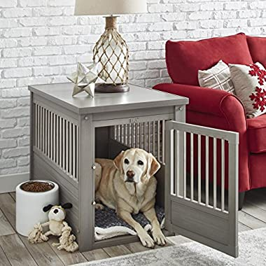 Contemporary End Table Pet Crate and Kennel with Stainless Steel Spindles - Includes Modhaus Living Pen (Extra Large, Gray)