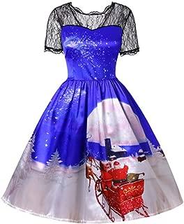 Severkill Christmas Dress, Women's Vintage Lace Shoulder Xmas 3D Print Party Ugly Christmas Swing Long Maxi Dress