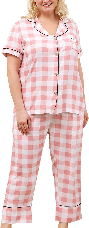 Celkuser Women's Plus Size Plaid Pajama Sets Short Sleeve Pjs Loungewear Sleepwear XL-5XL CEL104
