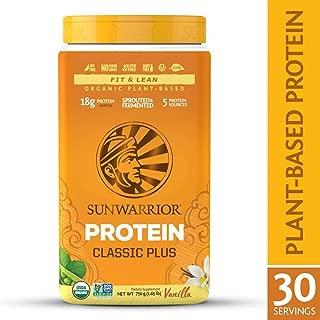 Sunwarrior - Classic Plus, Vegan Protein Powder with Peas & Brown Rice, Raw Organic Plant Based Protein, Vanilla, 30 Servings