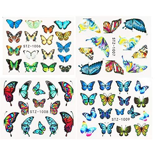 1pcs Watercolor Butterflies Sliders Blue Black Nail Decal Sticker Summer Nail Art Decoration Water Tattoo Manicure GLSTZ982-1017