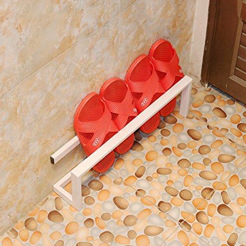 Eisen Shoe Shelf Rack, kleine einfache Bad Hausschuhe Rack (Color : White, Size : 45 * 9 * 15 cm)
