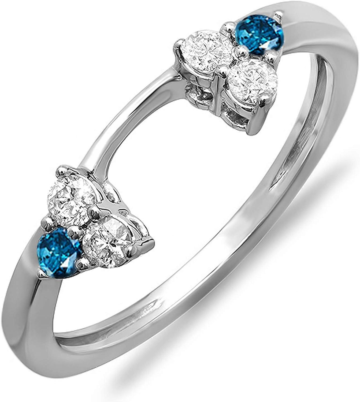 Dazzlingrock Collection 0.30 Carat (ctw) 14K White & Blue Diamond Ladies Wedding Ring Matching Guard Band 1/3 CT, White Gold