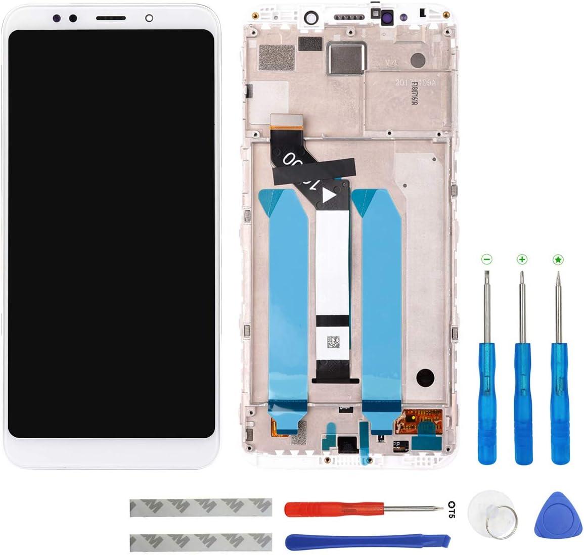swark Pantalla LCD compatible con Xiaomi Redmi 5 Plus MEG7, MEI7 (Snapdragon 625) (blanco con marco) pantalla táctil digitalizador de montaje cristal + herramientas