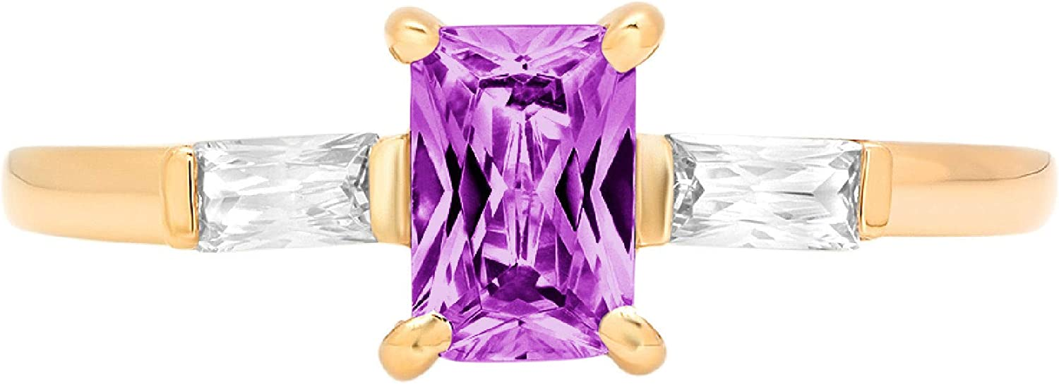 1.1 Emerald Baguette cut 3 stone Solitaire with Accent Stunning Genuine Flawless Simulated Purple Alexandrite Modern Promise Statement Designer Ring 14k Yellow Gold