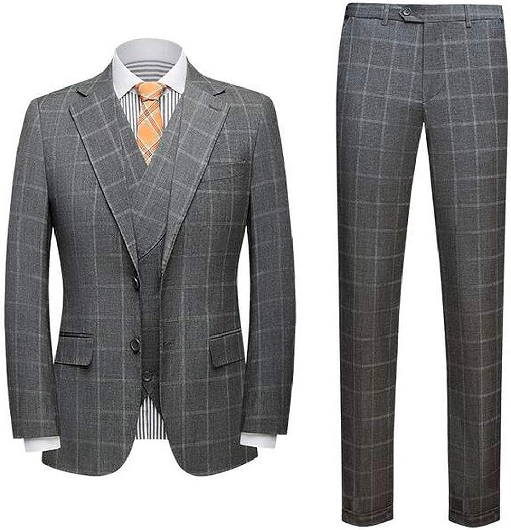 Men's 3 PC Plaid Suits Peak Lapel Two Buttons Wedding Suits Groom Tuxedos Business Suits Prom Suit
