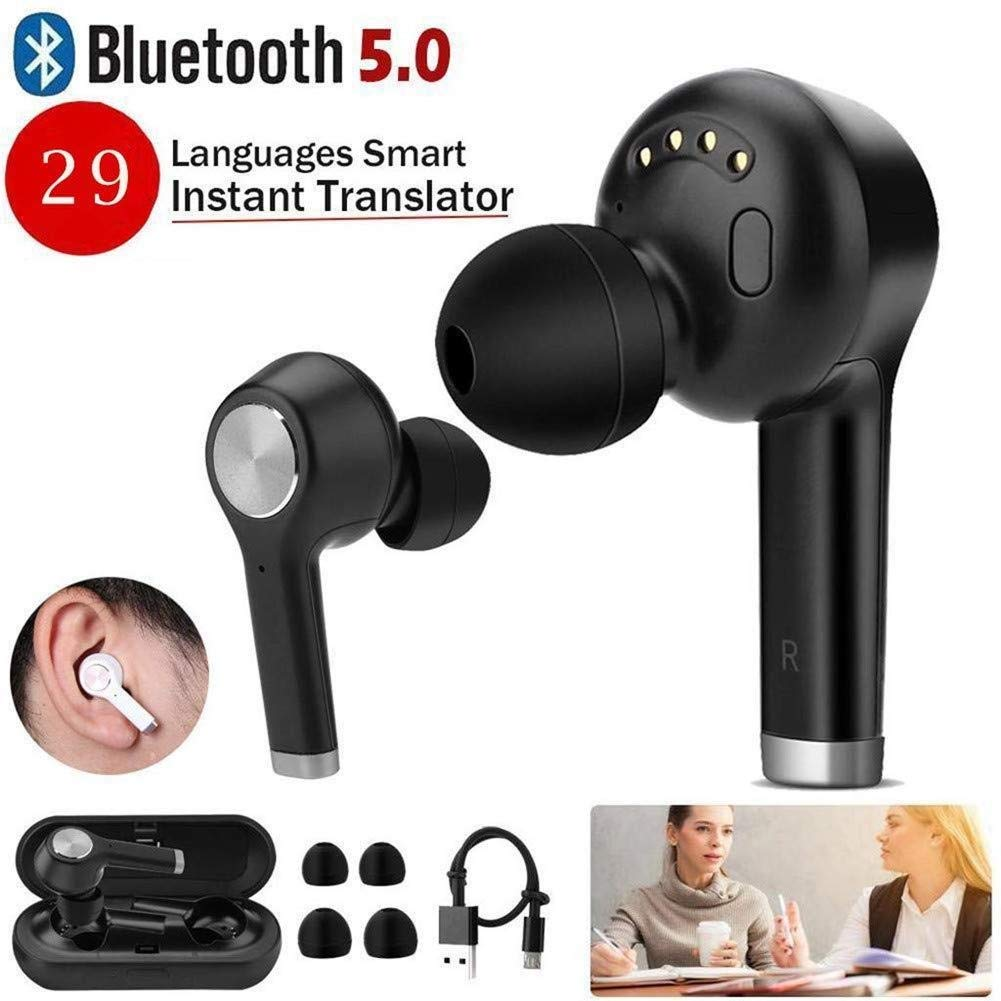 Auriculares inalámbricos inteligentes Bluetooth, traductor instantáneo Auriculares 29 Idioma TWS Auriculares deportivos Estuche de carga inteligente a prueba de agua: Amazon.es: Electrónica