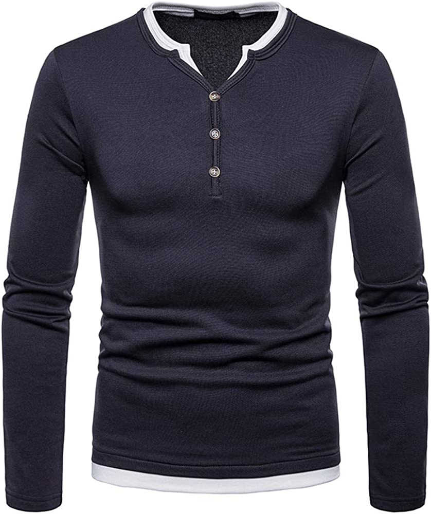 MODOQO Men's Button Down T-Shirt, Long Sleeve V-Neck Casual Solid Henley Tee Tops
