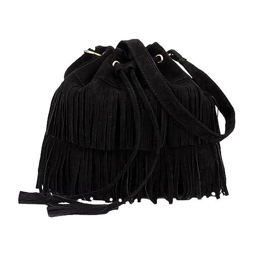 73618d602d02 FXTXYMX Fringe Purse Suede Tassel Shoulder Bucket Bag Crossbody Bag Handbag  for Woman and Teen Girls