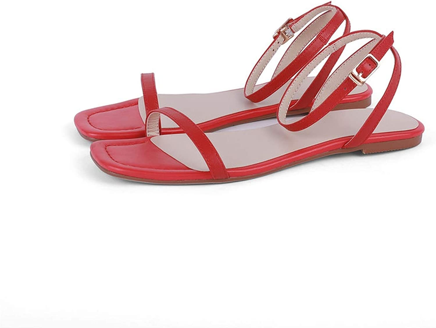 Girl21 Style Beach shoes Women Sandals Solid colors Buckle Genuine Leather Flat shoes Woman