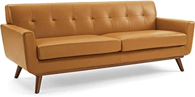 Modway Engage Top-Grain Leather Living Room Lounge Sofa in Tan