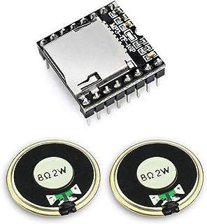 KeeYees DFPlayer Mini MP3プレイヤー モジュール ミニ 音声モジュール 音源再生モジュール + マグネットスピーカー 磁石内蔵 8オーム 2W 金属シェル