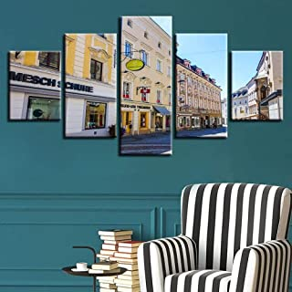 TYUIOP Canvas Painting 5 Pieces Canvas Home Decoration Painting Modern 5 Board Architecture Landscape Living Room Wall Art...