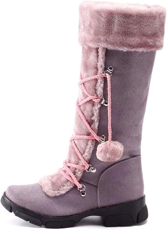 Sinzelimin Women's Fashion Warm Zipper Short Booties Outdoor Suede Flat Waterproof Faux Fur Snow Boots