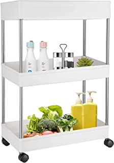 HOME CUBE 1 Pc 3 Layer Kitchen Storage Trolley Rack with Caster Wheels, Rolling Utility Cart Slide Out Storage Shelves Spa...