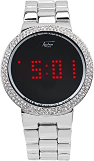 Smart Touch Screen Gold Metal Band Watch with Lab Made Diamonds on The Bezel-Techno Pave
