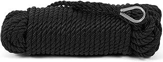 wellenshop Ankerleine schwarz Polyester mit Edelstahl-Kausch 10 mm x 30 m Ankerwinden geeignet Leine Seil Tau Anker Polyester-Leine Boot Schiff