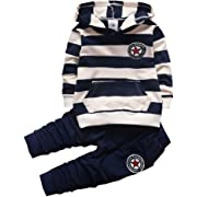 Toddler Baby Boys Girl Clothing Set Kids Children Striped Hooded T-Shirt + Pants Spring Fall Sport Outfits (Blue, 4T), Opens in a new tab