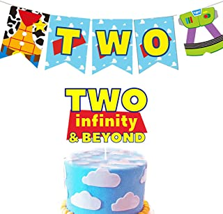 HEETON Two Infinity and Beyond Banner and Buzz Cake Topper Light year Toy Inspired Story 2nd Birthday Party Supplies Decor...