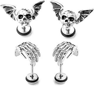 4PCS Skull Ghost Head Skeleton Claw Bat Earring Flat Back Screw On Cool Ear Lobe Studs Cartilage Helix Piercing Set Women Men 16G Post