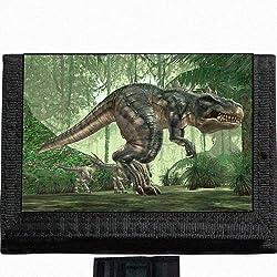 5. MYDply T Rex Dinosaur Black Trifold Nylon Wallet