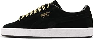 PUMA Men's Suede Classic x Chain, Black-Metallic Gold