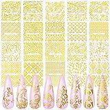Gold Flowers Nail Art Sticker, KISSBUTY 20 Sheets Metallic Flowers Vine Nail Decals 3D Flower Lace Nail Adhesive Stickers Leaves Nail Art Decor Gold Floral Nail Decor Manicure