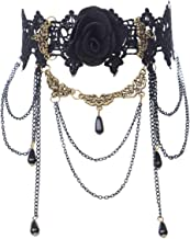 Kjiasiw Choker Necklaces Black Lace Gothic Statement Necklace Wedding Halloween Accessories
