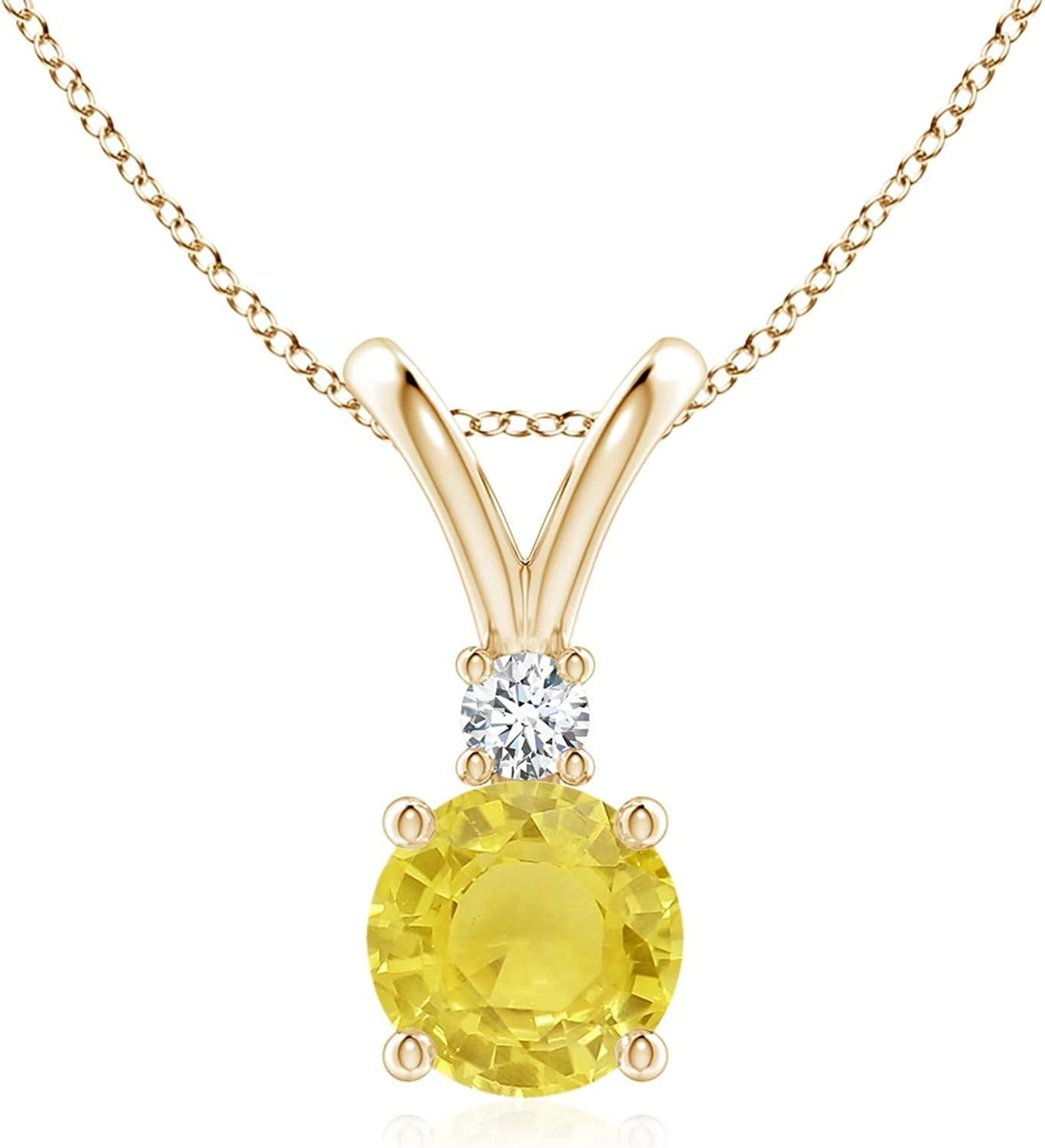 Round New arrival Yellow Sapphire Solitaire V-Bale with in 1 Diamond Pendant Purchase
