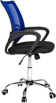 TecTake Silla de Oficina giratoria con Soporte Lumbar sillón Ejecutivo Silla de Escritorio tejid (Negro