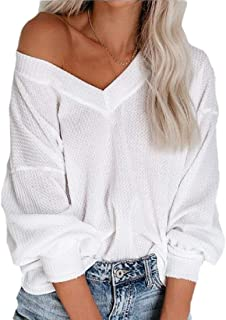 Women's Deep V Neck Long Sleeve Knit Top Loose Shirt Pullover Sweater