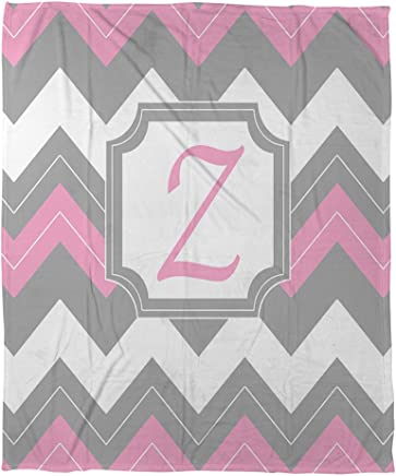 Manual Woodworkers & Weavers corallo plaid in pile, 30da 101,6cm, Monogrammed Letter Z, Pink chevron