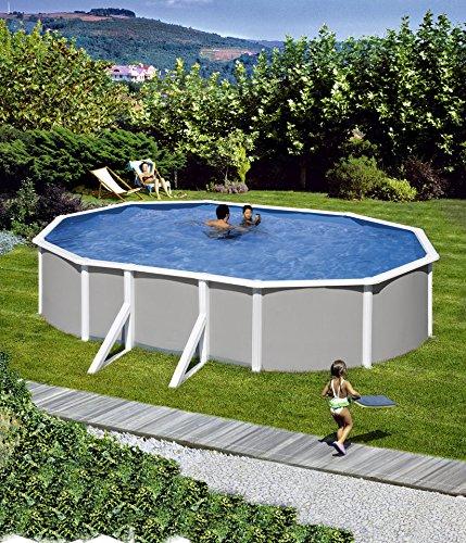 HANSEATIC Komplett-Set: »Aufstell-Ovalpool mit breitem Handlauf in Grau« (in 3 Größen) 120 cm x 375 cm x 610 cm