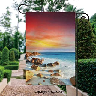 SCOCICI 12 x 18 Inch Garden Flag - Sunrise Over Seashore Stone on The Foreground Caribbean Morning View Picture Double Sided Print Country Garden Yard Flag for Home Seasonal Outdoor Decor