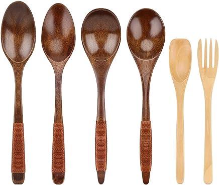 5PCS Wooden Spoon Short-Handle Kitchenware Wood Color for Salt Sugar Soup