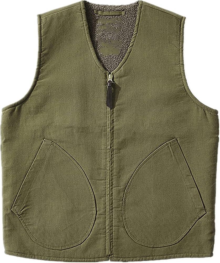Lamb Vest Men Winter Thicken Sport Outwear Keep Zipper Decoration