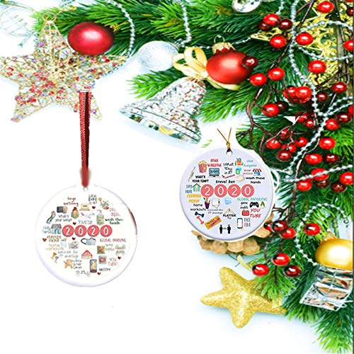 Sonffablly 2020 A Year to Forget, Two Sided Printed Christmas Ornament,Annual Events, Christmas Ornament Decoration Pendant Ceramic Hanging Ornament (2pcs)