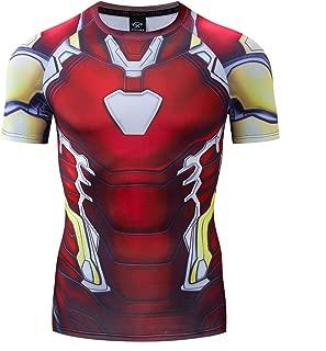 Men's Avenger's Superhero Ironman Endgame Shirt Quantum Compression Sports Suit Short Sleeves Cosplay Shirt