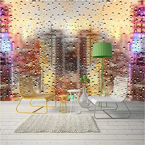 MINCOCO groot behang muurschildering op maat 3D nep water druppels stad tv woonkamer achtergrond behang muurschildering 430x300cm(169.3x118.1inches)
