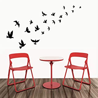 MAFENT 20 Birds Wall Stickers Flying Bird to The Sky Flying Wall Art for Nursery Bedroom Tree Wall Decoration(Black)
