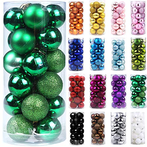 Emopeak 24Pcs Mini Christmas Balls Ornaments, Small Shatterproof Christmas Baubles for Xmas Christmas Tree, Hanging Ball for Holiday Wedding Party Decoration (Gold, 1.2'-3.1CM)
