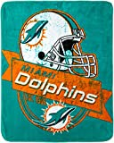 The Northwest Company Officially Licensed NFL 'Grand Stand' Plush Raschel Throw Blanket Miami Dolphins, 50' x 60'